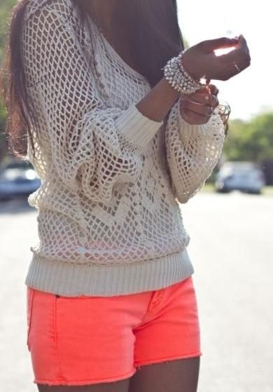<3: Neon Shorts, Bright Short, Fashion, Summer Outfit, Style, Dream Closet, Spring Summer, Crochet Top