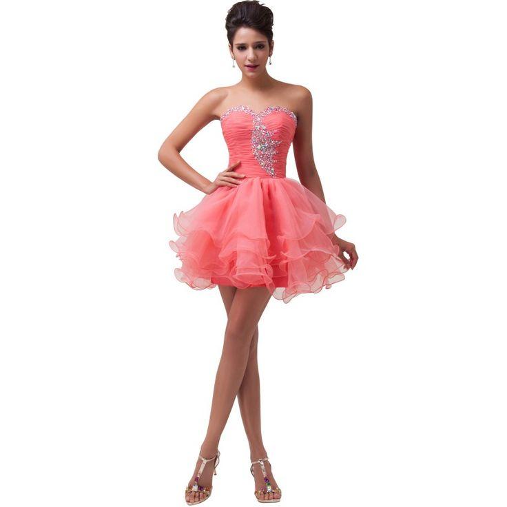 Lososové spoločenské šaty CL6077-1