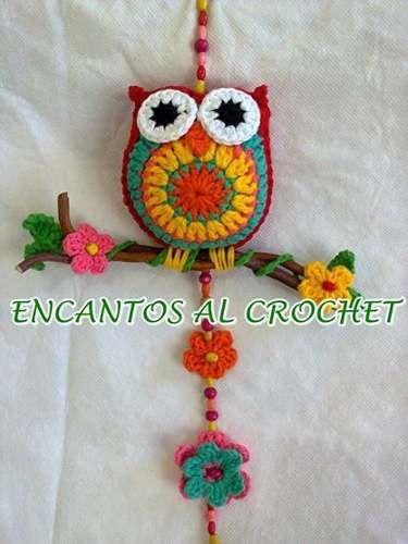 Colgante De Buho Con Ramita. Encantos Al Crochet
