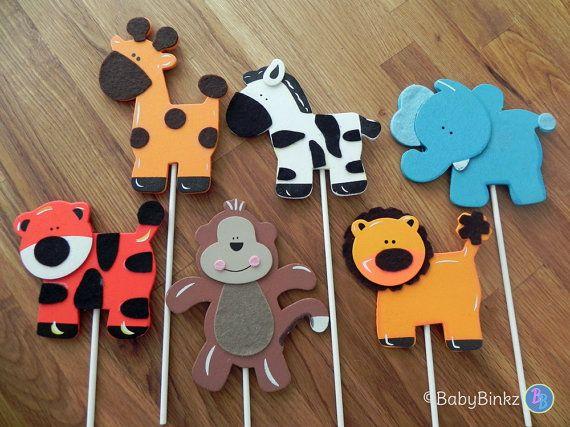 Formas de animales de la selva - fiesta de cumpleaños de la ducha del bebé primeros de la torta o decoraciones mono jirafa León elefante tigre cebra