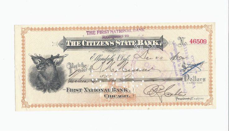 1902 Citizens State Bank Check Ellendale North Dakota Check 46509 | eBay-SR