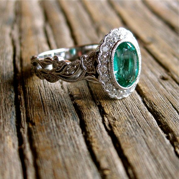 Oval Cut Green Emerald Engagement Ring in 14K White Gold with Leaf Vine Motif and Diamonds Size 6.75