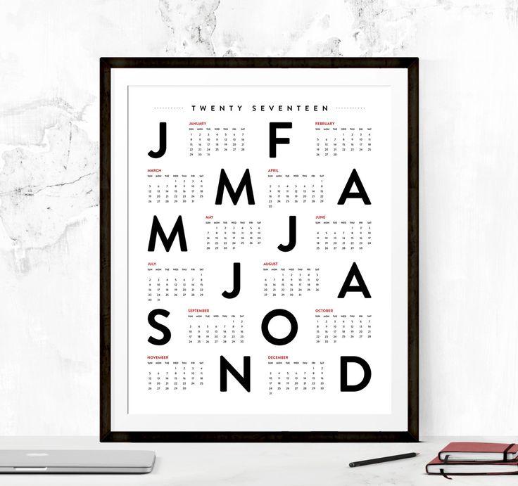 2017 Calendar 2017 Calendar Printable by TypographyPrintables                                                                                                                                                                                 More