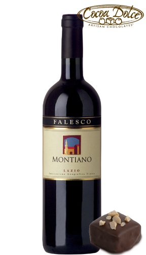 #Wine: Falesco Montiano Merlot #Chocolate: PB   This merlot is achieved from an old low-yielding vineyard where the selection of grapes is extremely rigorous. It has a wonderful, deep ruby red color, a wide range of aromas including vanilla, red fruit and sweet spices.  The taste is round and soft—just the way a fine merlot should be. Paired perfectly with our PB chocolate with home-made strawberry jam layered with house made PB and Belgian milk chocolate.