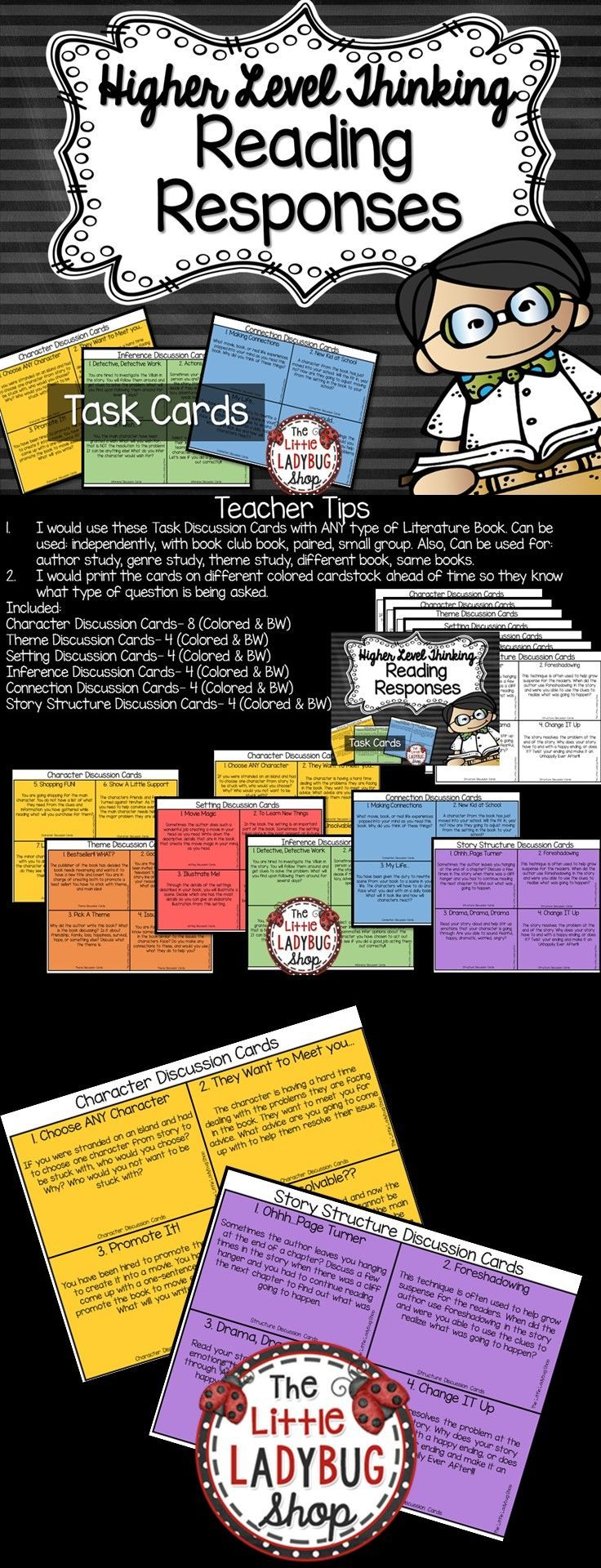 Reading Response | Reading Response | Reading Response  Reading Response Higher Level Thinking for ANY- book club, literature/ novel. Your students will LOVE these interactive and HOT task card activities!