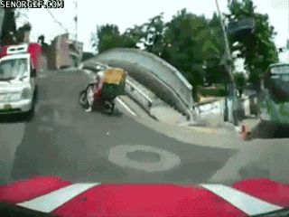 Poor Guy just trying to earn some money...  lol  |- Parking Fails Driving Fail Drive Fail Crash Fail Car Fail gif gifs -|