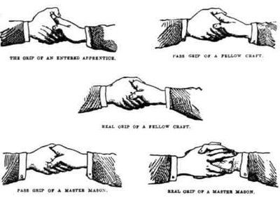 Masonic handshake see chart below! Snake Gordon Brown is of course mouthing the Illuminist line. 'There will be global calamities if you sheeple don't run to our Luciferian New World Order.' Yes, t...