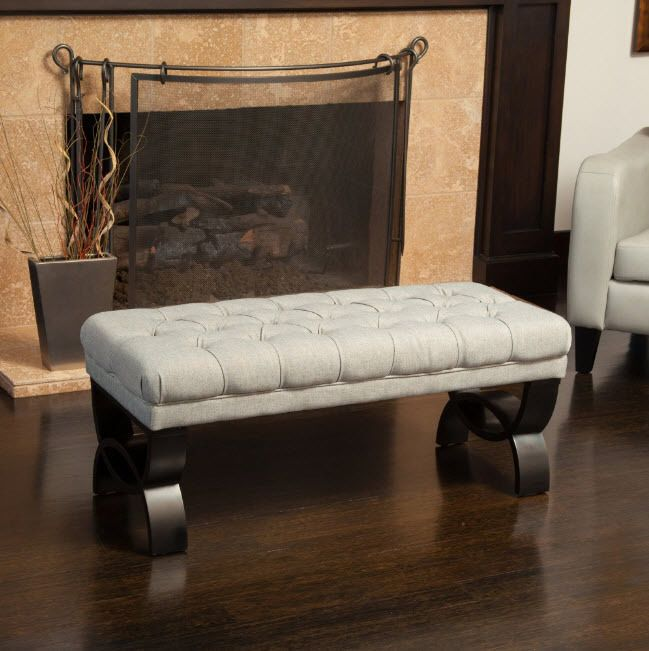 Entryway Bench Ottoman Tufted Light Beige Hallway Living Room Seat Furniture  | eBay