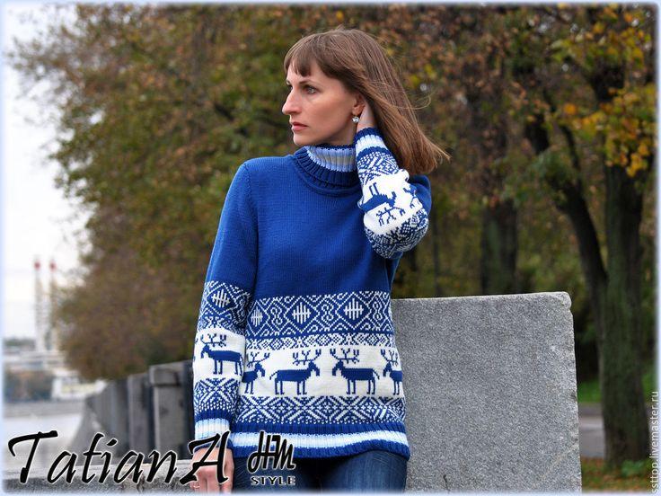 """Купить Вязаный свитер """"12 ОленЕЙ"""" - комбинированный, орнамент, свитер, свитер вязаный, свитер женский"""