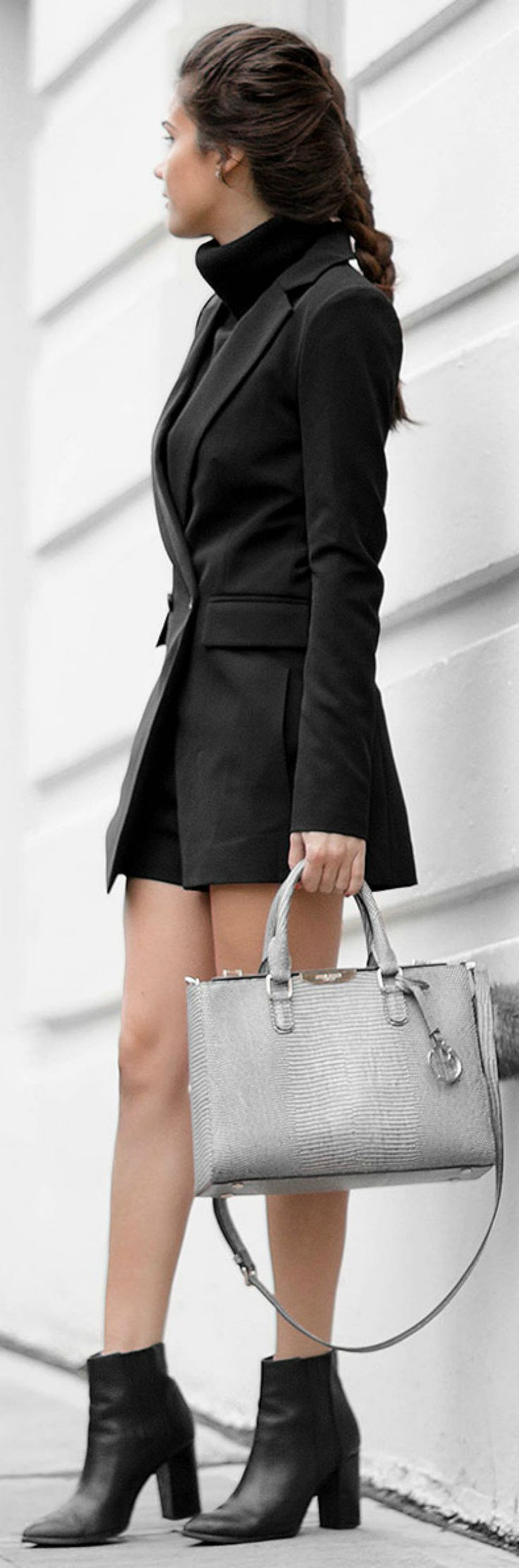 A blazer romper suit + pair of chunky ankle boots + edgy and alternative outfit + Sarah Butler. Romper Dress: Lulu's, Sweater: Bluefly, Satchel: Henri Bendel, Boots: Seychelles.