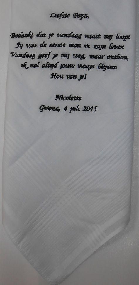 zakdoek bruiloft  http://www.borduurkoning.nl/shop/diversen/zakdoeken