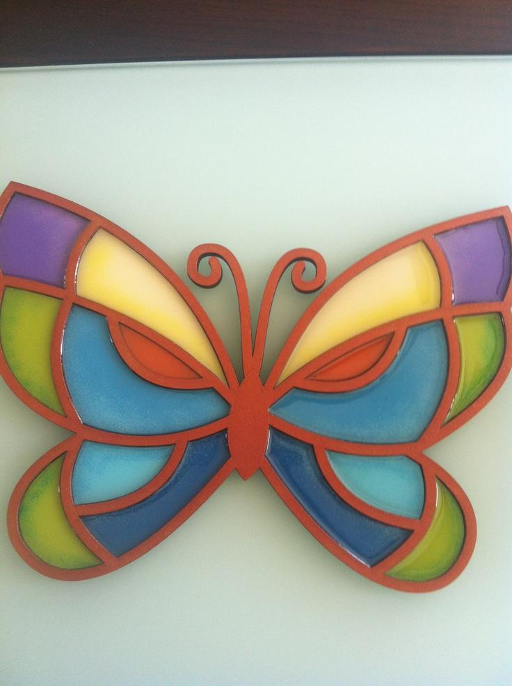 Mariposa t cnica vitral con resina ideas c m p pinterest - Pintura de resina ...