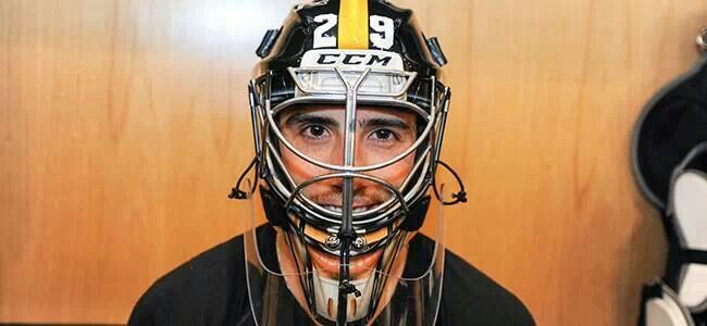 Penguins goalie wore a Steelers inspired helmet for the game tonight. 3/1/2014