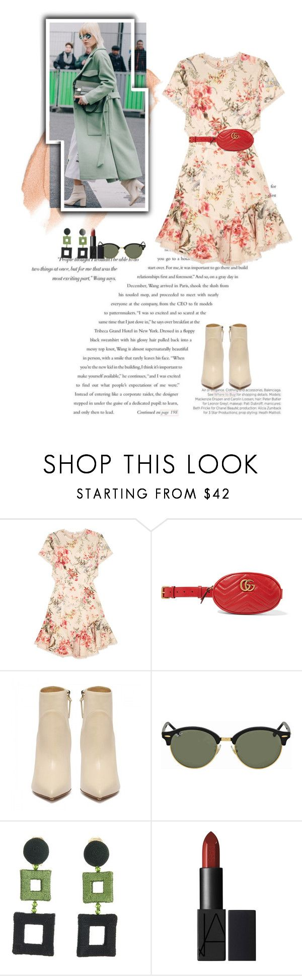 """Belt Bag..."" by unamiradaatuarmario ❤ liked on Polyvore featuring Balenciaga, Zimmermann, Gucci, Ray-Ban, Oscar de la Renta, Too Faced Cosmetics, statementbags and spring2018"
