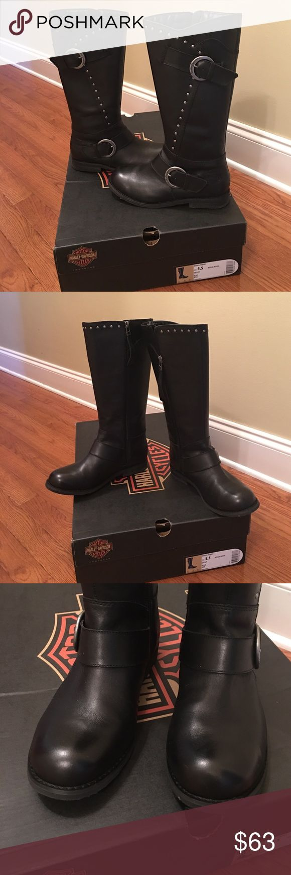 Women's Harley Davidson Boots worn once! Black Harley Davidson boots for women with stud detail and buckles. Worn once about 45 minutes. Size 5.5. Excellent deal! Harley-Davidson Shoes Combat & Moto Boots