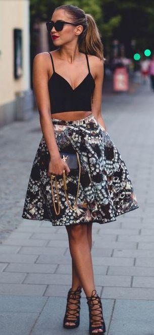 High waisted skirt + crop top + heels
