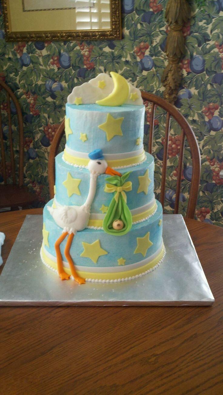 Gender neutral baby shower ideas pinterest - Stork Baby Shower Cake