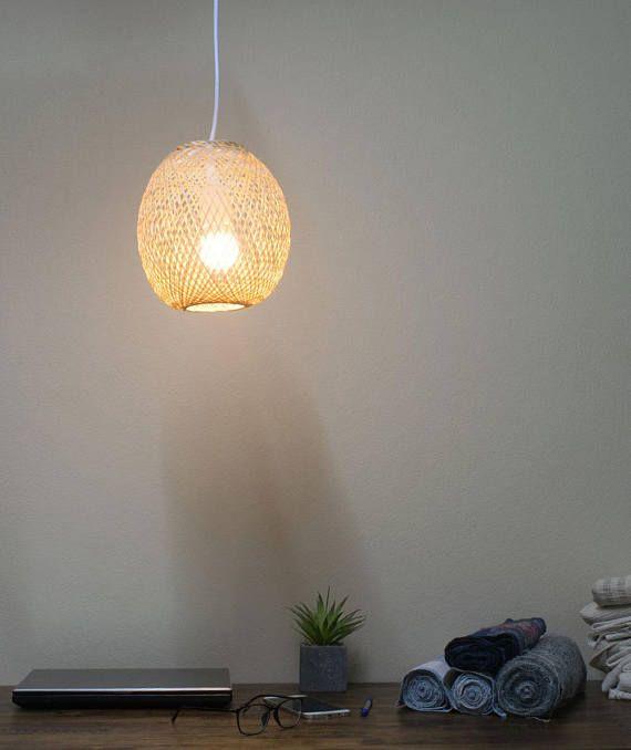Natural Bamboo Light Handmade Bamboo Pendant Lamp Repurposed
