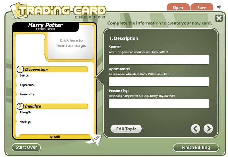 Make trading cards for each characyer for a book presentation.... GENIUS!