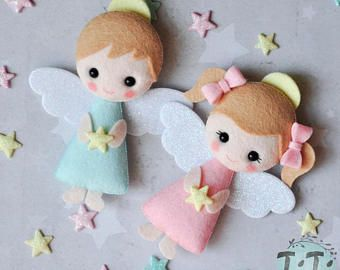 CUSTOM LISTING for NELLIE - 20 Felt Angels with 20 bags, Personalized Baptism favors with bags