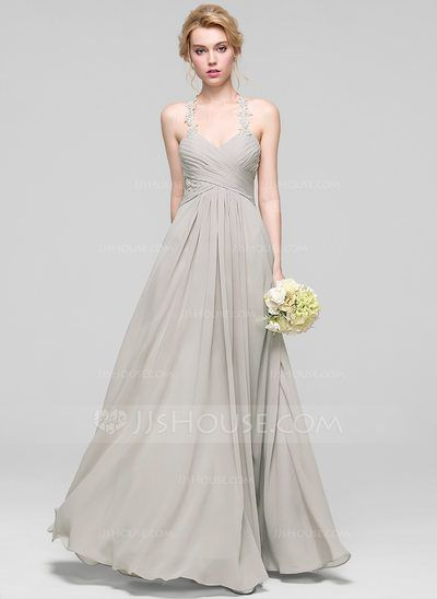 [US$ 104.19] A-Line/Princess Sweetheart Floor-Length Chiffon Bridesmaid Dress With Ruffle