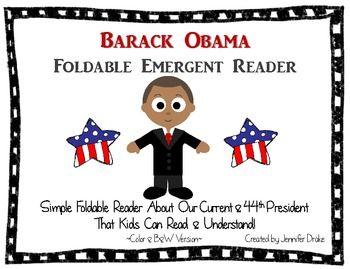 Barack Obama Foldable Emergent Reader ~Color & B Versions PLUS Printable - Jennifer Drake - TeachersPayTeachers.com