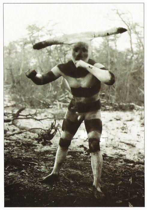 Selknam, Hain Ceremony, Tierra Del Fuego By Martin Gusinde, 1923    Kataix, spirit of the hain ceremony Klóketen. Selk'nam village (Onas).