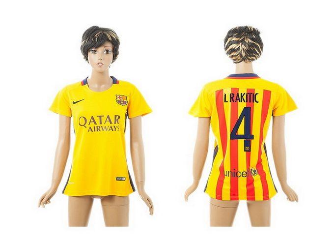 Womens 2015-2016 Barcelona 4 I.RAKITIC Away Yellow Soccer Jersey FC ... c6dbf3ea261