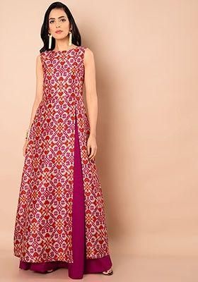 d45a6489a56fa Pink Ikkat Silk Slit Sass Tunic  Fashion  FabAlley  SlitSass  SassTunic   Tunic  Indya  TraditionalDress  IndoWestern  Trending