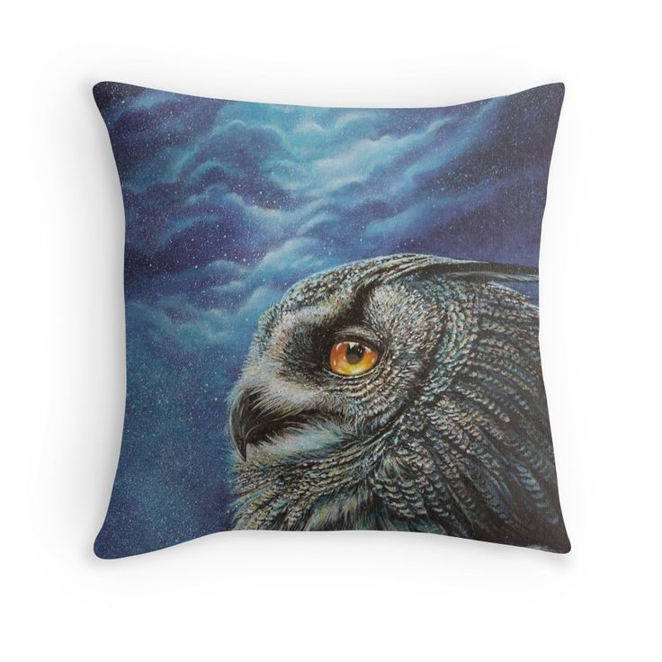 This pillow design has a beautiful portrait of a great horned owl under an infinite sky of stars.