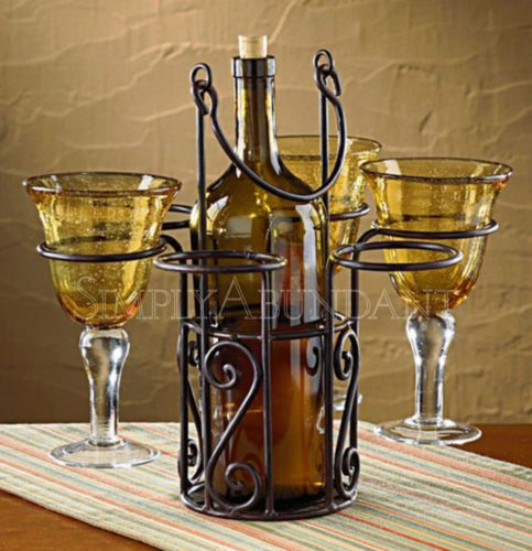 Village Wine Bottle and Glass Caddy - Holds one bottle & 6 glasses. Iron with carrying handle. A great gift for wine lovers - or one who entertains often. Unique style. Free shipping.