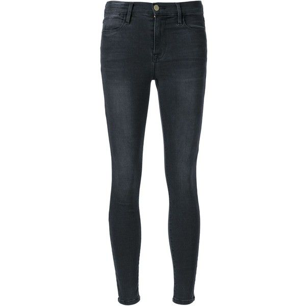 Frame Denim 'Le High Skinny' jeans ($240) ❤ liked on Polyvore featuring jeans, black, skinny jeans, skinny leg jeans, cut skinny jeans, denim skinny jeans and skinny fit jeans