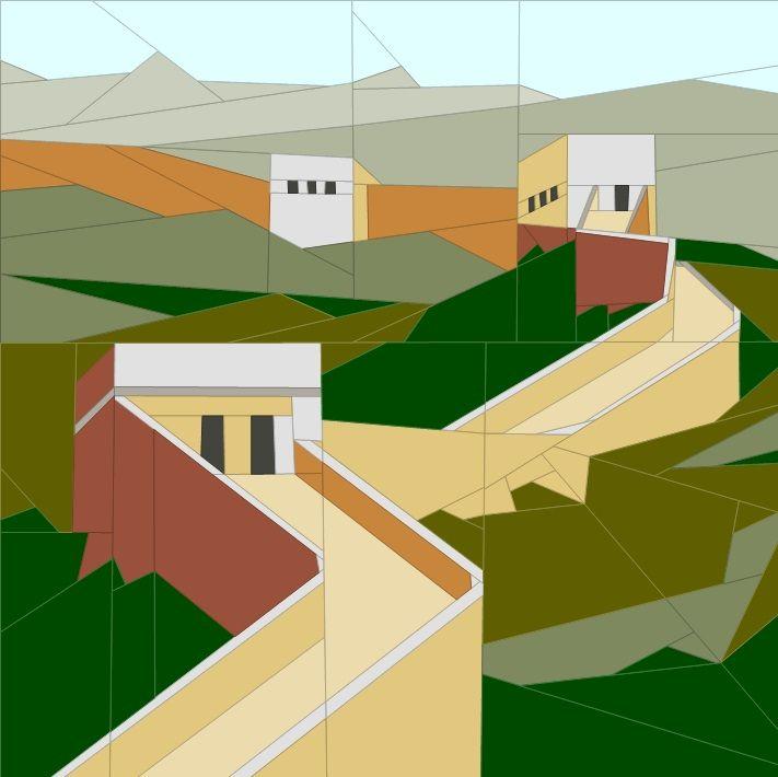 August BOM - Wall of China Paper Piecing Patterns quiltartdesigns.blogspot.com
