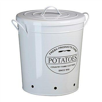 Briscoes - Farm Potato Storage Bin With Handle Round White Medium