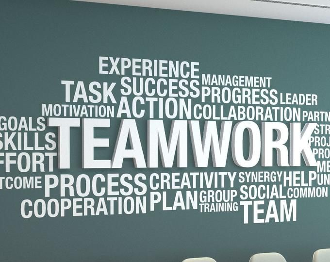 Teamwork Makes The Dreamwork 3d Office Wall Art Typography Etsy Office Walls Office Wall Art Office Quotes