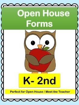 Open House: Open House Forms! Get ready for Open House! Set includes everything you will need to run a successful Open House. Perfect for K-2nd! Includes: - Teacher Welcome Letter - Student Information Sheet - Transportation Checklist - Getting to Know Your Child - Attendance Sign In Sheet - About Your Teacher Form - Volunteer Sign Up Form - The Giving Tree Classroom Wish list & Tags - Thanks for Popping In Gift Tags - No Homework Passes & a bonus Parent/Teacher Conference Form!