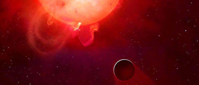 Représentation artistique de l'exoplanète Kepler 438b orbitant autour de sa capricieuse étoile.