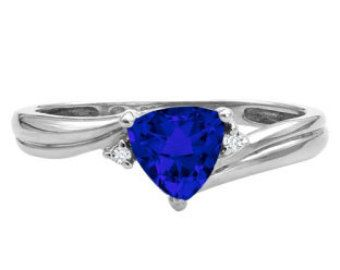 Trillion Cut Blue Sapphire Birthstone Diamond Ring In White Rose Yellow Black Gold Silver Blue Birthstone Color Blue September Gemstone Ring