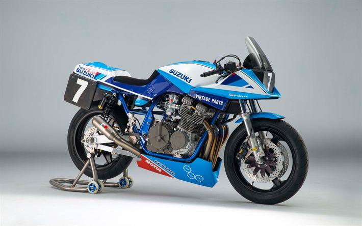 Télécharger fonds d'écran Suzuki GSX1100S Katana, 2017, 4k, moto de course, bleu GSX1100S Japonais de motos, Suzuki, Classique Suzuki Équipe
