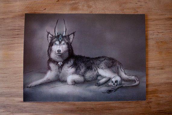 Mystic Wolf  Postcards & Prints  Fantasy wolf print by MieMoeShop