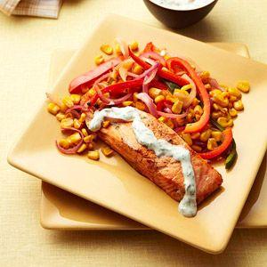 Chili Roasted Salmon with Cilantro Cream