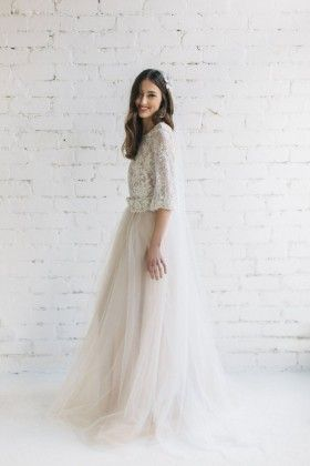 1367229551 Floral Embroidered Illusion Nude Tulle Long Sleeve Romantic Wedding ...
