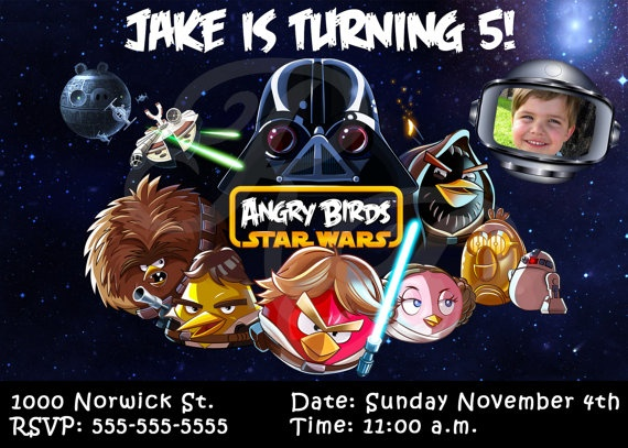 Angry Birds Star Wars Personalized Birthday Invitations