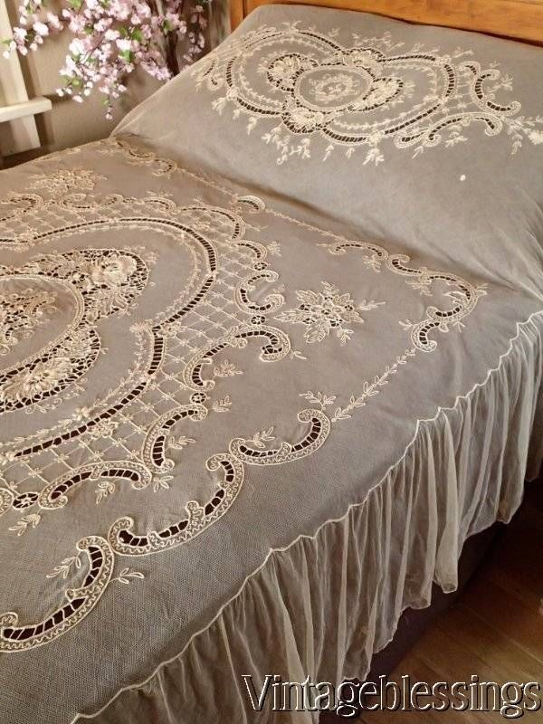 Glorious Antique c1900 French Embroidered Lace Coverlet Bedspread www.Vintageblessings.com