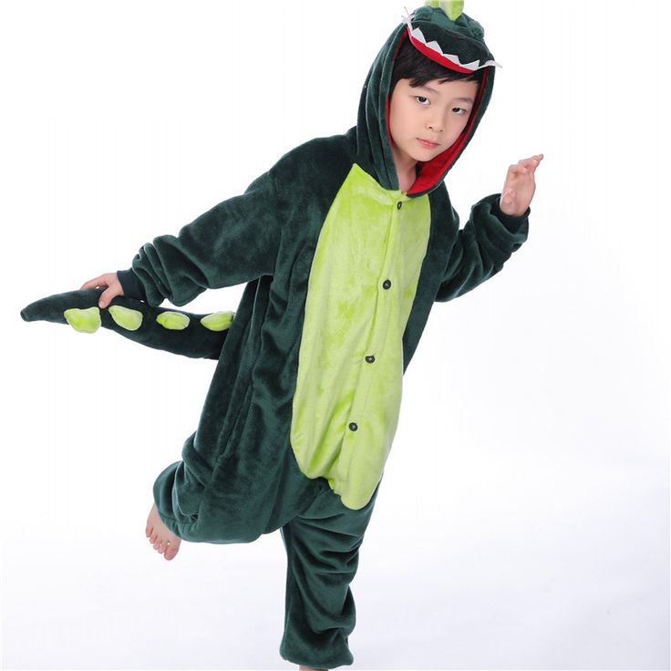* Hooded design<br /> * Front buttons<br /> * Back zip-up at the hip<br /> * Material: 100% Polyester<br /> * Machine wash, tumble dry<br /> * Imported<br /> <br /> Soft and cozy, this hooded dinosaurs pajamas is a go-to for easy dressing and quick changes.
