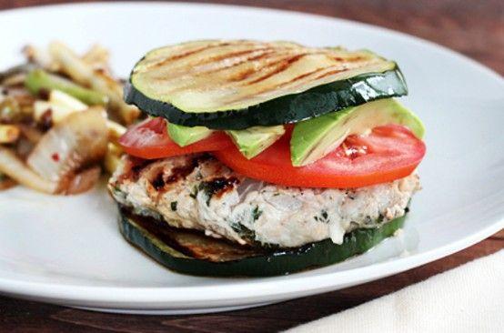 Zucchini Bun Burger - 56 Healthier Burger Recipes for Summer