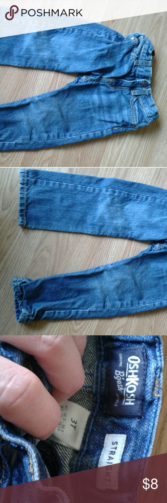 Boys straight cut jeans These jeans were only worn about 2 times. I forgot about them in his dresser. Great shape. Osh Kosh Bottoms Jeans