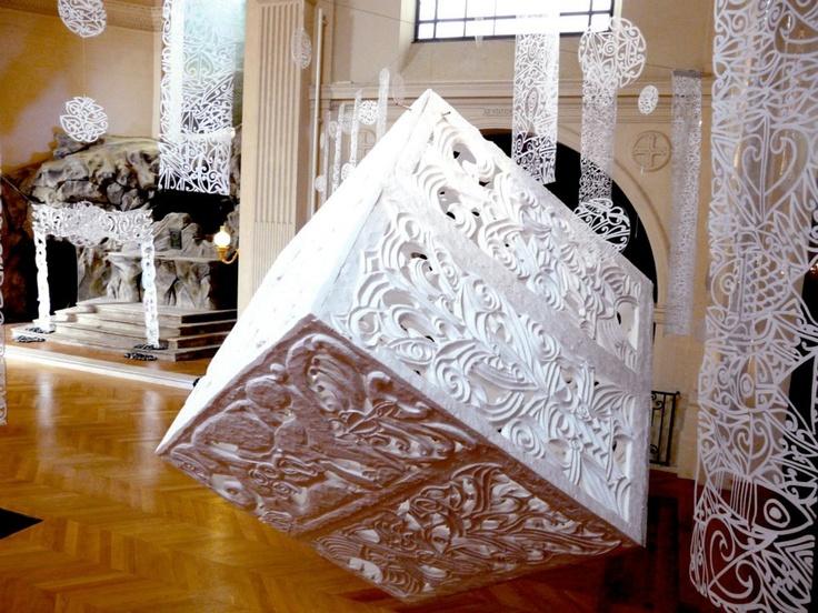 Display at St Roch Chapel, Paris, France. Maori art