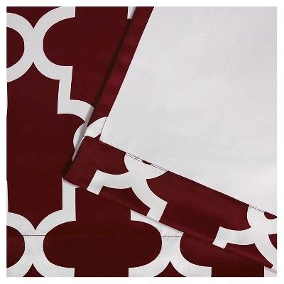 "Ironwork Sateen Woven Room Darkening Window Curtain Panel Pair Burgundy (Red) (52""x84"") - Exclusive Home"