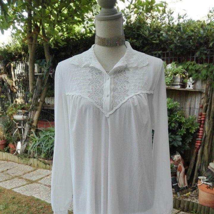 Bridal  Shabby chic camicia da notte bianca